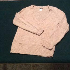 J crew pink wool v-neck sweater